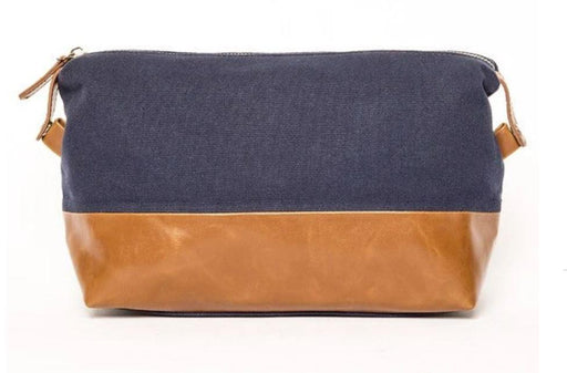 Toiletry Bag Bags and Totes Brouk&Co Navy and Leather
