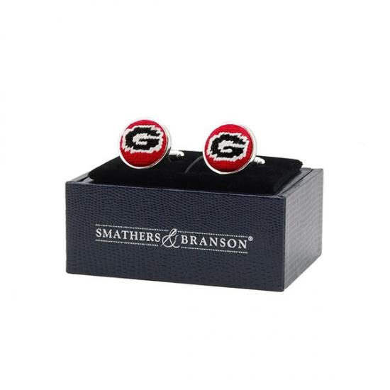 UGA Needle Point Cuff Links Cuff Links Smathers and Branson