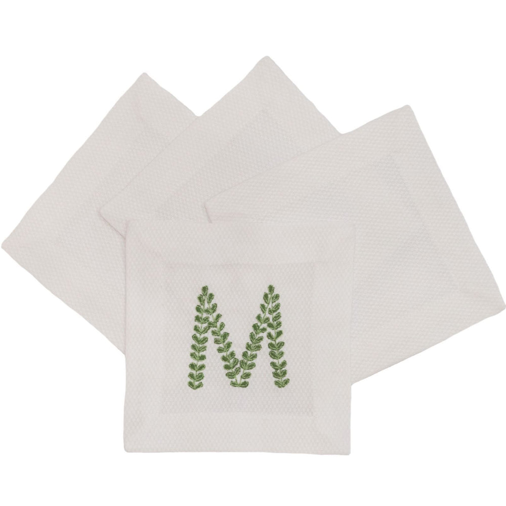 White Pique Cocktail Napkins - Set of 4 Cocktail Napkins Royalty Collection