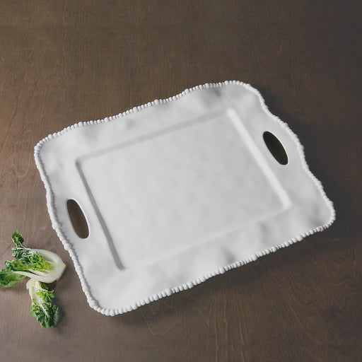 White Rectangular Tray with Handles and Beaded Edge - Oprah's Favorite Serving Pieces Beatriz Ball