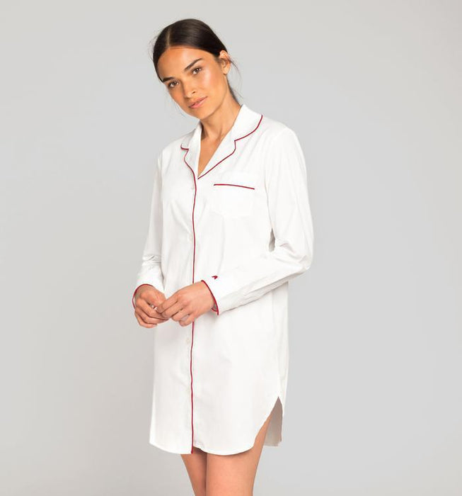 White Twill Nightshirt with Red Piping Pajamas Petite Plume