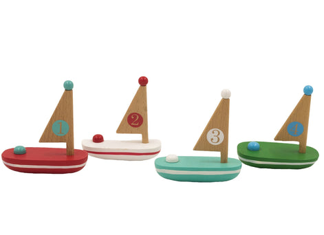 Wooden Floating Sailboat Mini Toys Jack Rabbit