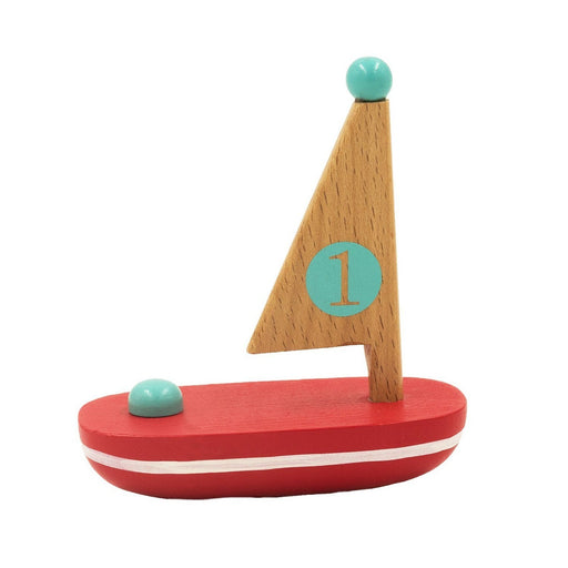 Wooden Floating Sailboat Mini Toys Jack Rabbit Red