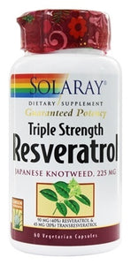 Solaray Guaranteed Potency Triple Strength Resveratrol 60 Capsules
