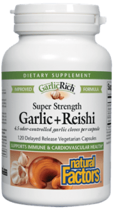 Natural Factors Super Strength Garlic + Reishi 120 Vegetarian Capsules