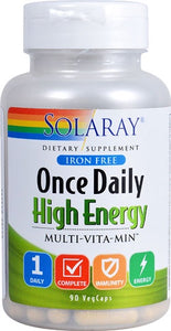 Solaray Once Daily High Energy Iron Free Multi-Vitamin 90 Capsules