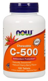 Vitamin C-500 Cherry Chewable - 100 Tablets