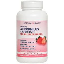 American Health Chewable Acidophilus 100 Wafers Strawberry Flavor