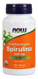 Spirulina 500 mg, Organic - 100 Tablets