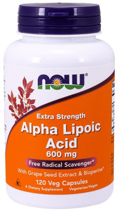 Alpha Lipoic Acid, Extra Strength 600 mg - 120 Veg Capsules