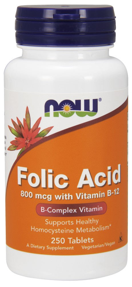 Now Folic Acid 800 mcg w/B-12 250 Tablets