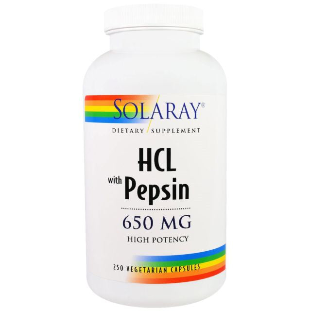 Solaray Betaine HCL w/ Pepsin 650 mg High Potency 250 Capsules