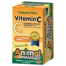 Natures Plus Vitamin C Orange Flavor Children Chewable 90 Tablets