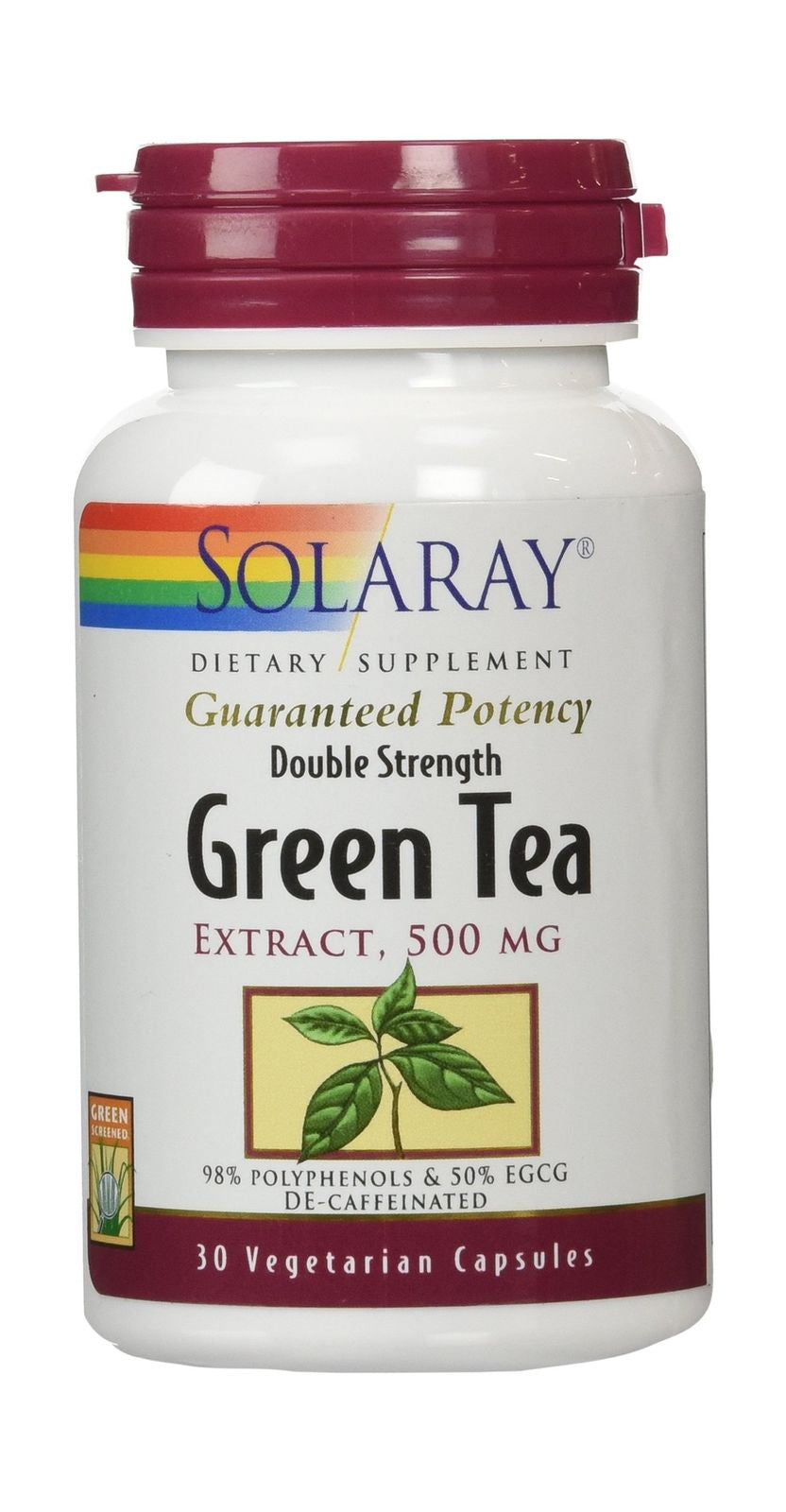 Solaray Double Strength Green Tea Extract 500 mg 30 Capsules