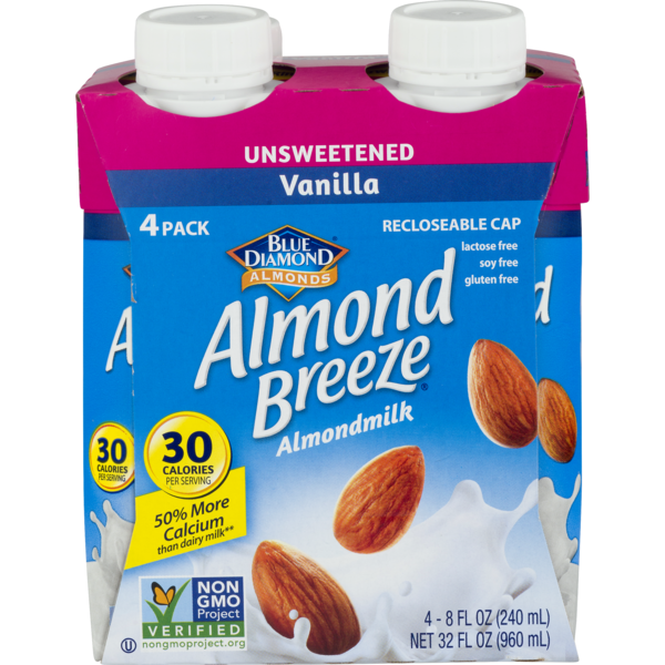 Almond Breeze Unsweetened Vanilla Almond Milk 4 Pack