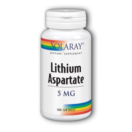 Solaray Lithium Aspartate 5 mg 100 Capsules
