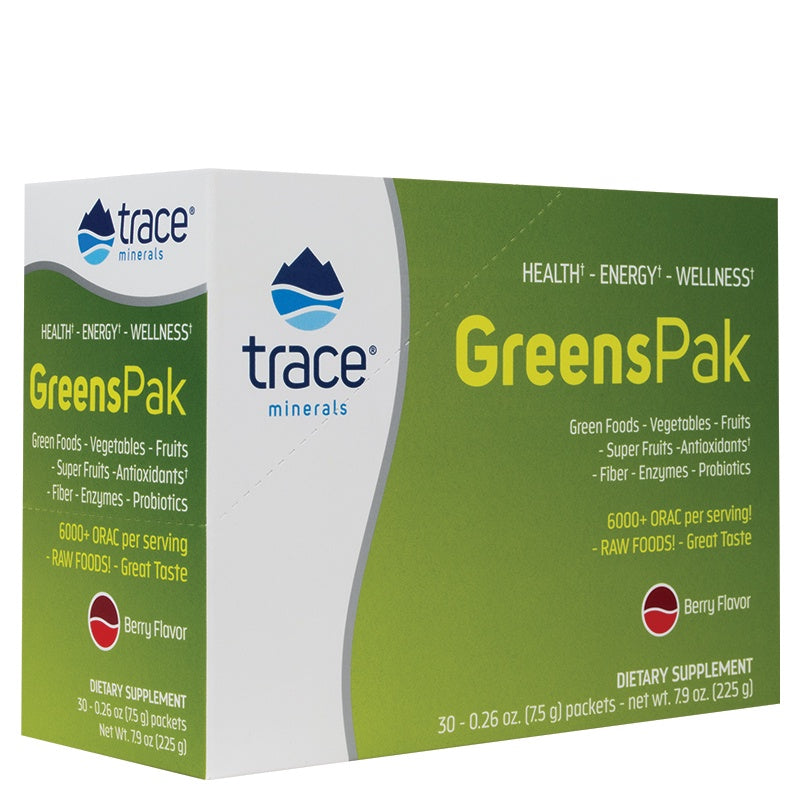 Trace Minerals Greens Pak Berry Flavor 30 Packets