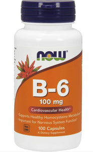 Now B-6 100 mg 100 Capsules