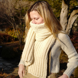 The Fisherman's Rib Scarf Kit - Cream