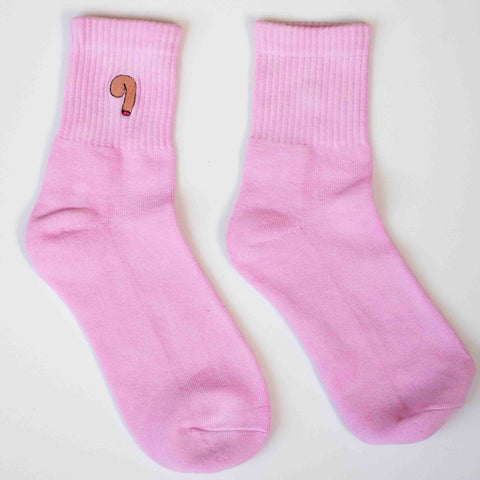 Cocks On Socks - Pink Socks w/White Logo