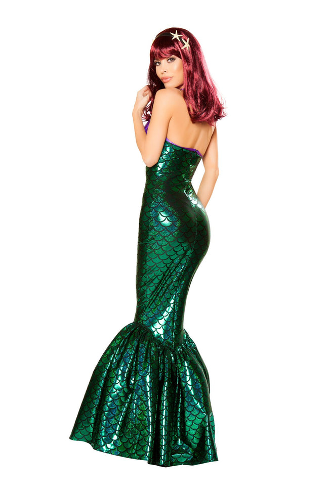 Mermaid Temptress Metallic Purple & Green Long Dress Deluxe Costume