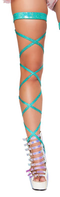"Pair of 100"" Shimmer Leg Straps with Attached Garter"
