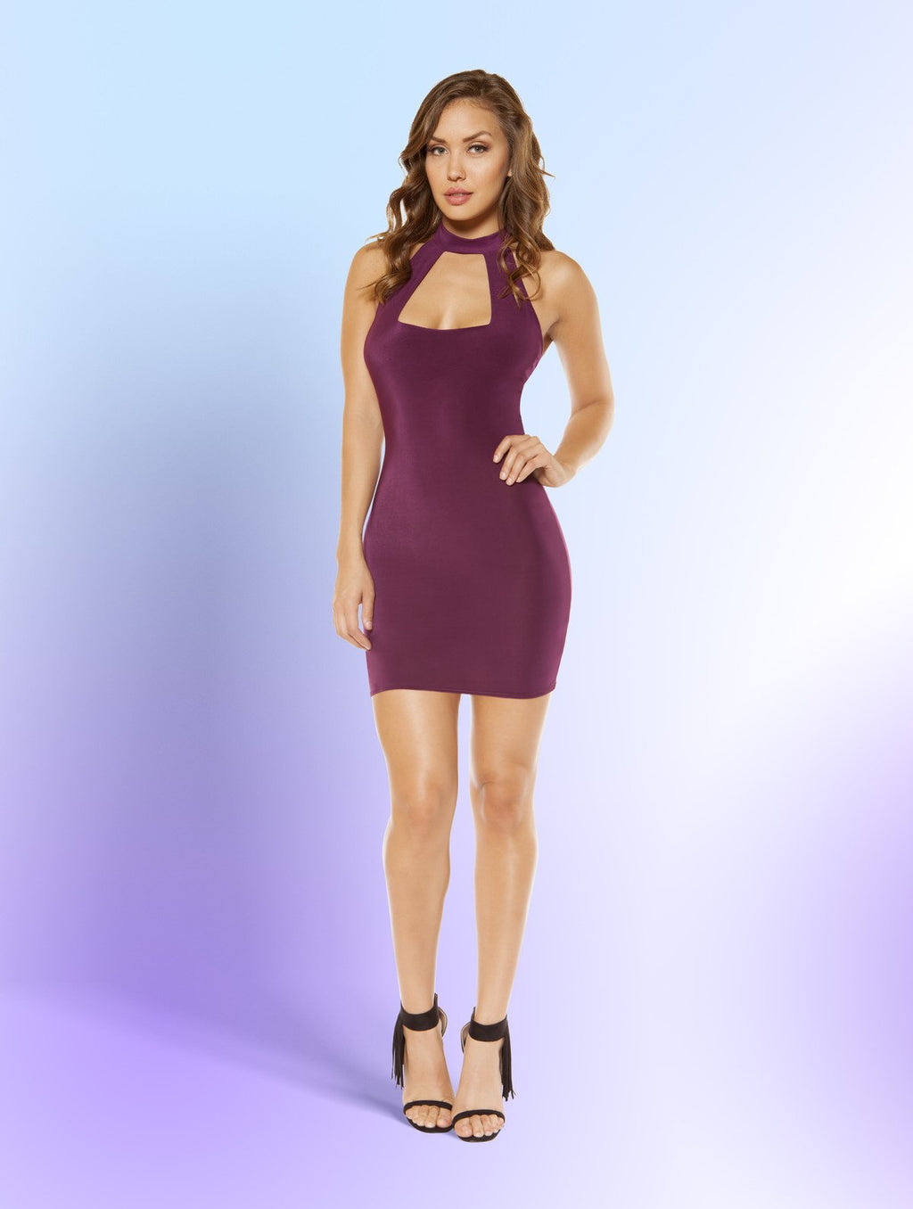 Plum - Partially Lined Cutout Top Mini Dress