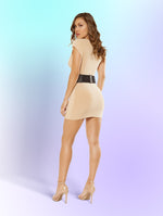 Single Sleeved Mini Dress with Low Cut Collar