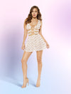 2 Piece Glitter Star Shaped Sheer Mesh Flare Dress