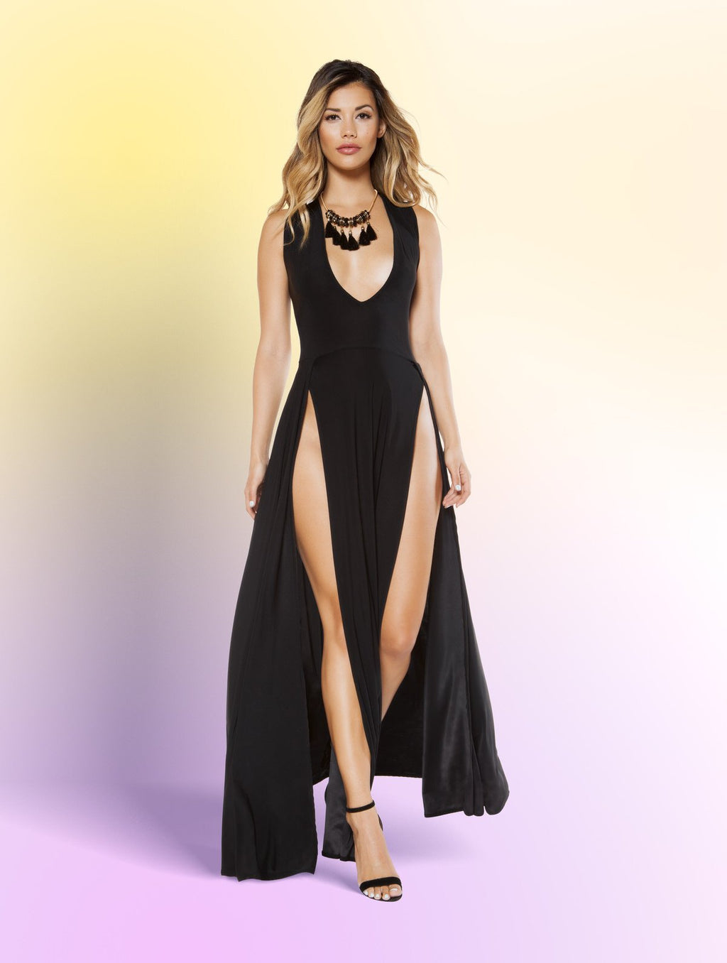 Maxi Length Dress with Front Slits