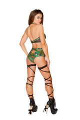 3420 - Roma Rave Criss-Cross Green Romper with Zipper Closure