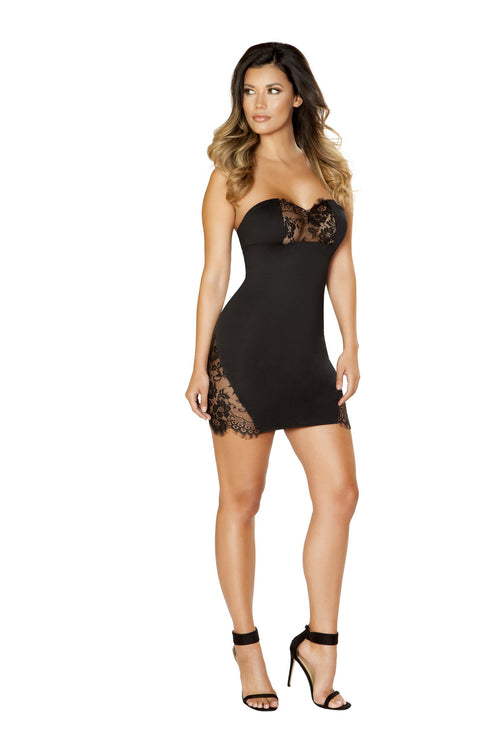 Roma Clubwear Black Short Dress with Eyelash Lace Panels