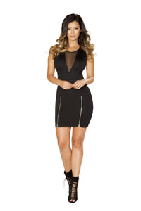 Roma Clubwear Black Mini Dress with Double Slit Zipper Detail and Sheer V Neck Detail