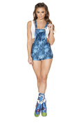 Denim Overall Romper with Pocket Detail