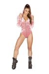 1pc Velvet Long Sleeved Hoodie Romper with Zipper Closure