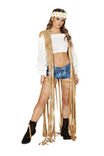 1pc Brown Tie Dye Suede Vest with Long Fringe Detail