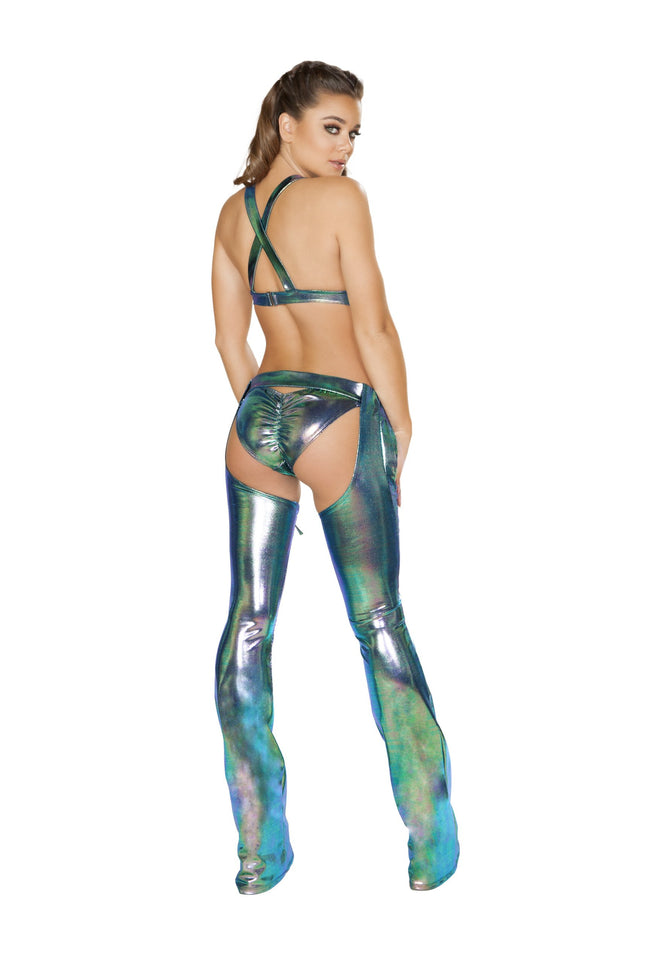 Iridescent Chaps with Lace-up Detail