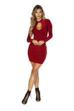 3642 Long Sleeved Dress with Cutout Detail