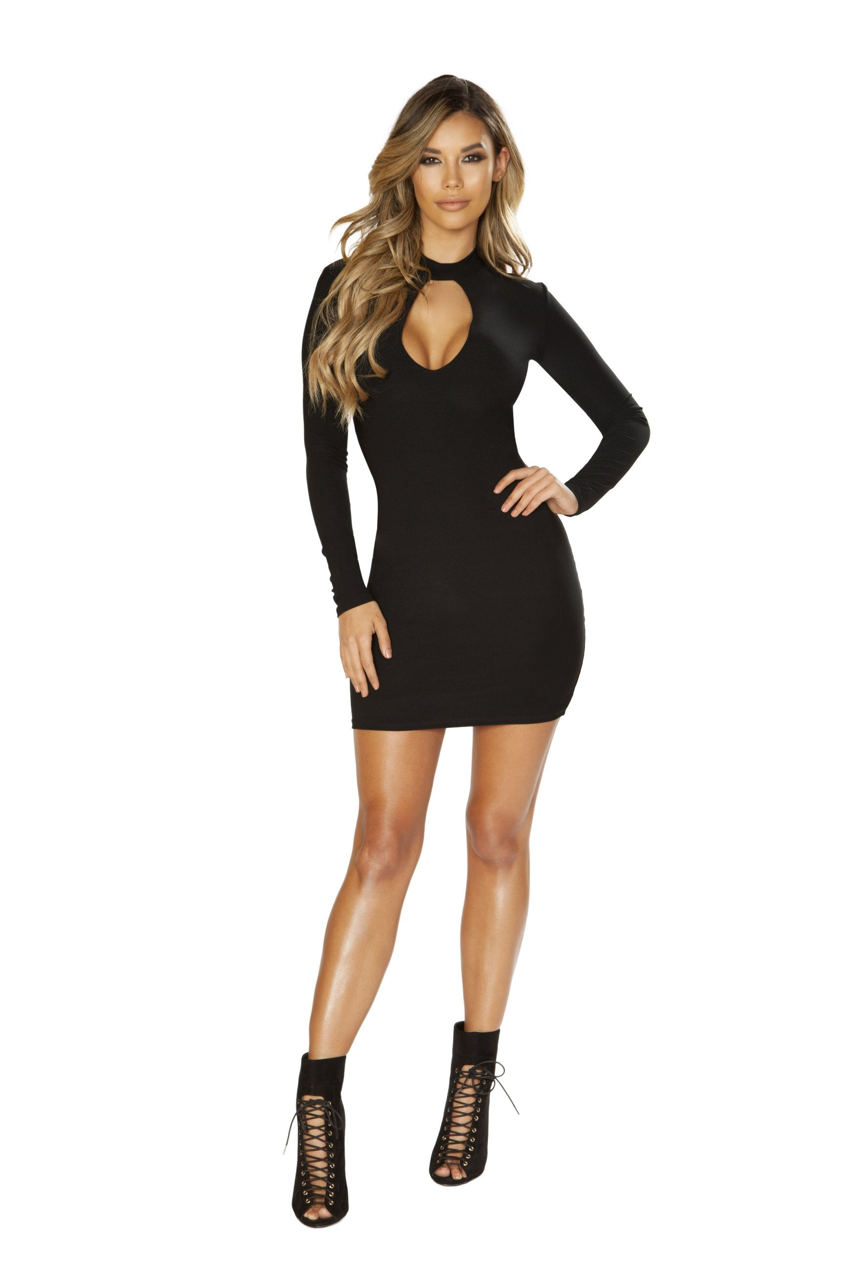 3643 Long Sleeve Dress with Cutout Detail