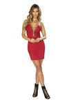 3648 Strapless Satin Mini Dress with Lace-Up Detail