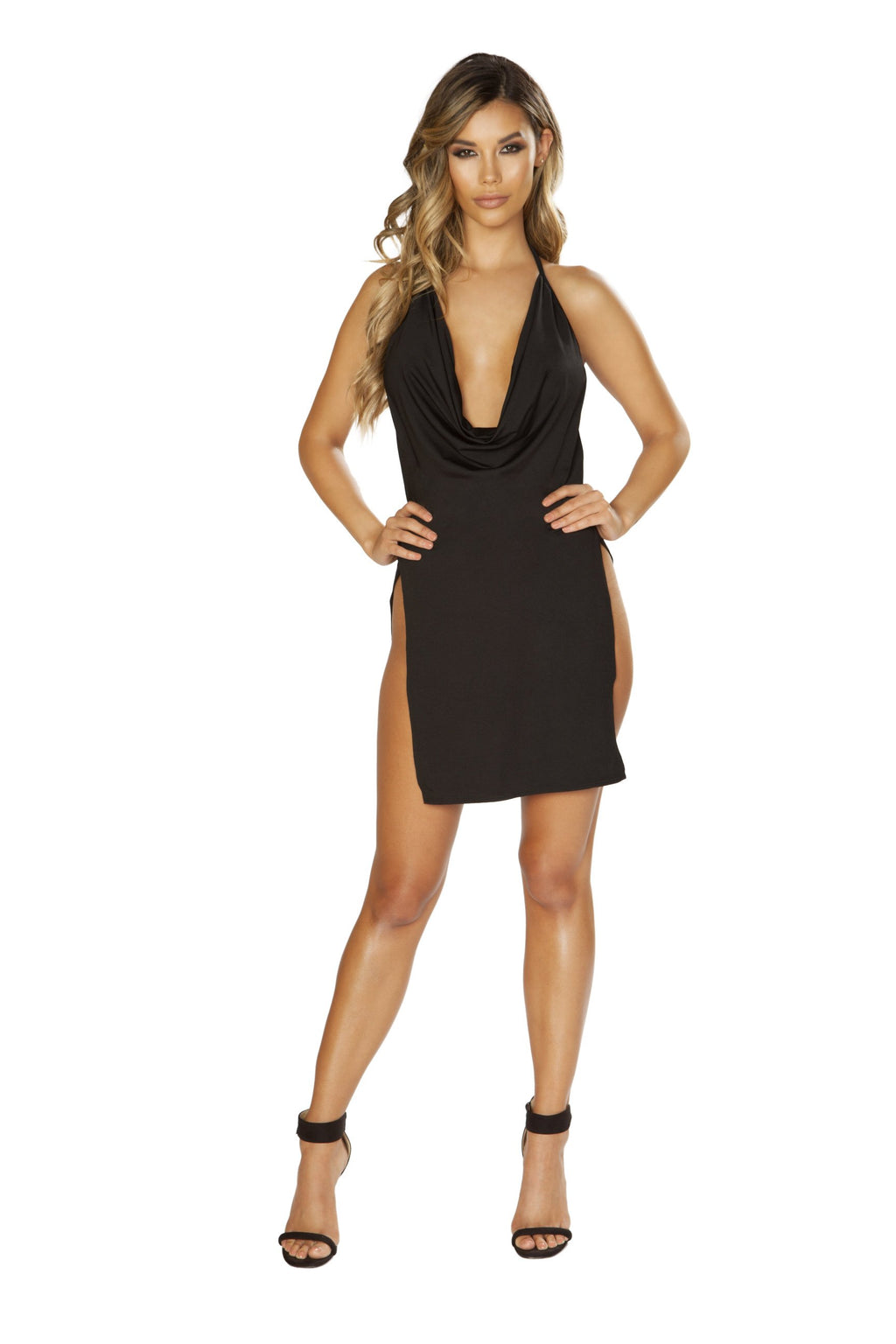 3651 Mini Cowl Neck Dress with High Slits