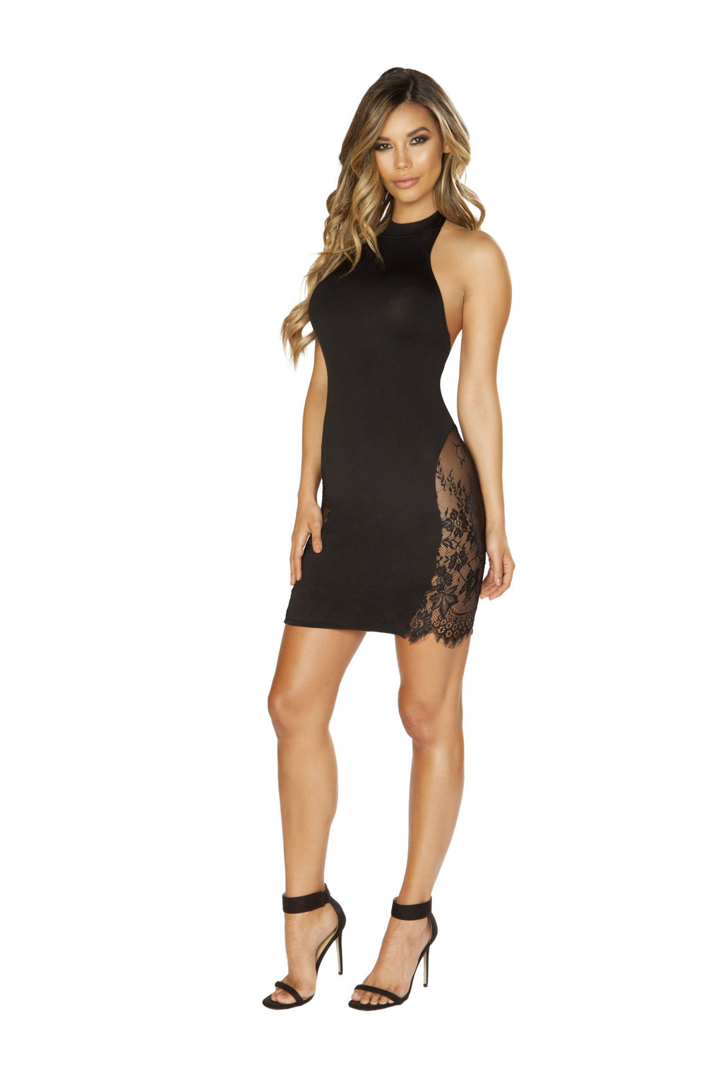 3652 Halter Neck Dress with Eyelash Lace Panels