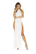 3656 Maxi Length Halter Neck Dress with High Slits