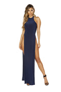 3657 Maxi Length Halter Neck Dress with High Slits