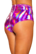 Pink Iridescent High-Waisted Shorts