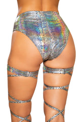 3739 - Snake Skin High-Waisted Shorts with Zipper Closure