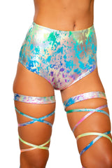 3765 - Rainbow Splash High-Waisted Shorts