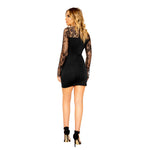 Long Sleeved Eyelash Lace Dress with V Wire