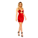 Keyhole Stretch Satin Mini Dress with Underwire Detail
