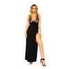 Maxi Length Eyelash Lace Dress with High Slit